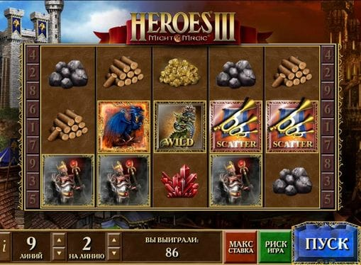 Выпадение дикого символа и скаттера в автомате Heroes 3